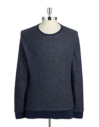 Black Brown Waffle Knit Pullover Navy