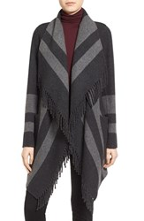 Diane Von Furstenberg Women's Stripe Fringe Trim Double Face Jacket Charcoal Grey