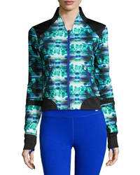 C And C Sport Dotted Cropped Baseball Jacket Pool Blue