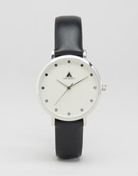 Asos Clean Dial Black And Silver Leather Watch Black