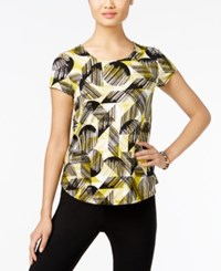 Alfani Petite Printed T Shirt Only At Macy's Geometric Texture Lime