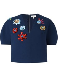 Delpozo Structured Embellished Crop Jacket Blue