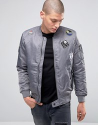 Brave Soul Nylon Twill Bomber Jacket Grey