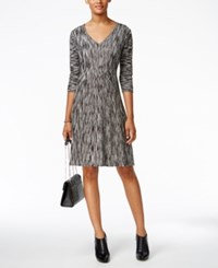 Connected V Neck Fit And Flare Sweater Dress Black White