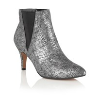 Lotus Lore Animal Print Ankle Boots Pewter