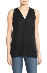 Junior Women's Lush Sleeveless High Low Tunic Top Black