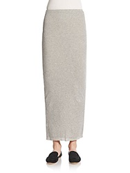 James Perse Ribbed Cotton And Cashmere Maxi Skirt Heather Grey