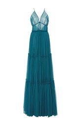 Sachin Babi And Vivien Tiered Tulle Gown Blue