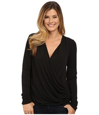 Bobeau Cross Front Long Sleeve Knit Top Black Women's Long Sleeve Pullover