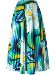 Vionnet Printed Pleated Skirt Blue