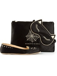 Charlotte Olympia 'Catnap' Embroidered Slippers Black