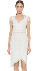 Marchesa Cap Sleeve Lace Cocktail Dress Ivory