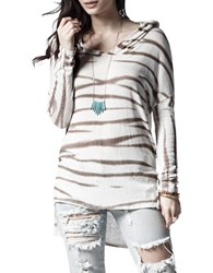 California Moonrise Tie Dye Hi Lo Hoodie Cream