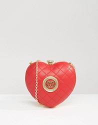 Love Moschino Structured Heart Cross Body Bag Red