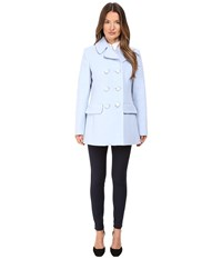 Kate Spade Double Breasted Peacoat Bowback 30 Pearl Blue Women's Coat