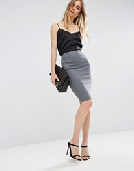 Asos High Waisted Pencil Skirt Charcoal Grey