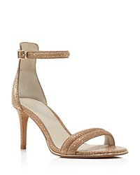 Kenneth Cole Mallory Metallic Snake Embossed Ankle Strap Sandals Rose Gold