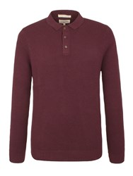 Racing Green Men's Tower Textured Long Sleeve Polo Wine