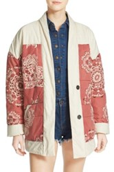 Free People Print Quilted Cotton Jacket Red
