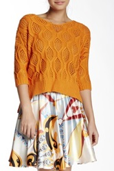 Lavand Pullover Cable Knit Sweater Orange