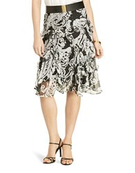Lauren Ralph Lauren Petite Animal Print A Line Ruffled Skirt Black Pearl