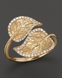 Bloomingdale's Diamond Double Leaf Ring In 14K Yellow Gold .25 Ct. T.W. Gold White