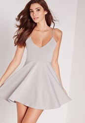 Missguided Petite Strappy Skater Dress Grey Grey