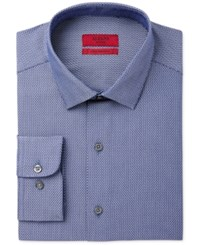 Alfani Black Men's Fitted Fit Performance Blue Texture Dress Shirt Only At Macy's