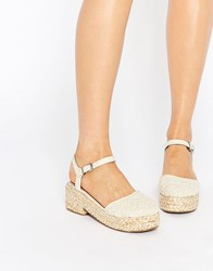 Asos Opal Flatform Shoes Cream Crochet White