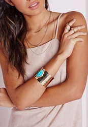 Missguided Semi Precious Stone Detail Cuff Gold