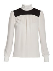 Morgan High Neck Blouse With Quilted Detail Off White