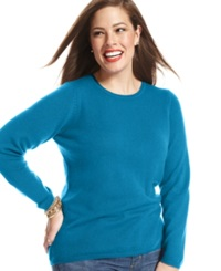 Charter Club Plus Size Cashmere Crew Neck Sweater True Teal