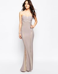 Forever Unique Bianca Sweetheart Maxi Dress With Sheer Embellished Panels Beige