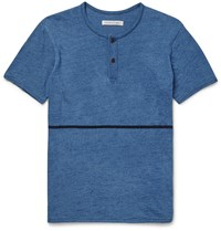 Outerknown Equator Slim Fit Cotton Henley T Shirt Blue