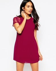 Pussycat London Dress With Lace Sleeves Red