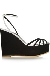 Sergio Rossi Leather And Suede Wedge Sandals Black