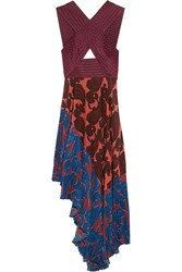 Stella Mccartney Caroline Asymmetric Printed Silk And Crepe Dress Purple