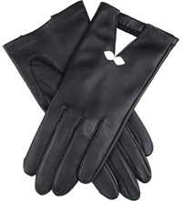 Dents Summer Bow Embellished Leather Gloves Black White