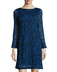 Neiman Marcus Long Sleeve Paisley Lace Shift Dress Royal