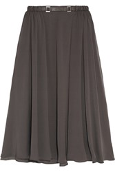 Halston Leather Trimmed Satin Twill Midi Skirt Gray