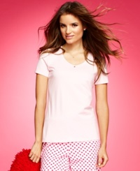 Nautica Short Sleeve V Neck Top Solid Pink
