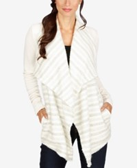 Lucky Brand Draped Open Front Cardigan Cream Multi