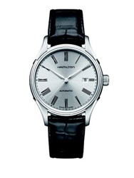 Hamilton Valiant Stainless Steel And Alligator Embossed Leather Automatic Strap Watch Black Silver