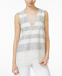 Rachel Roy Printed Crochet Lace Top White Combo
