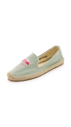 Soludos Flamingo Smoking Slipper Espadrilles Light Chambray