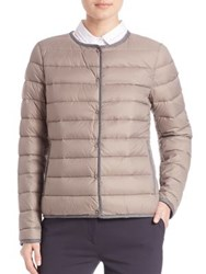 Peserico Contrast Trim Puffer Jacket Taupe Navy
