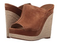 Michael Kors Charlize Luggage Sport Suede Women's Wedge Shoes Brown