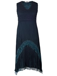Chesca Crush Pleat Sleeveless V Neck With Lace And Satin Trim Dress Ink