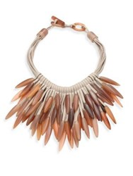 Nest Fringed Leather And Horn Necklace Tan