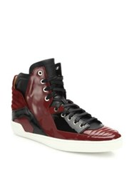 Bally Patent Leather High Top Sneakers Red Black